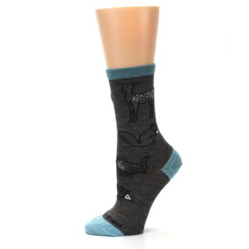 Image of Taupe Blue Women's Owl Dress Socks (side-2-11)