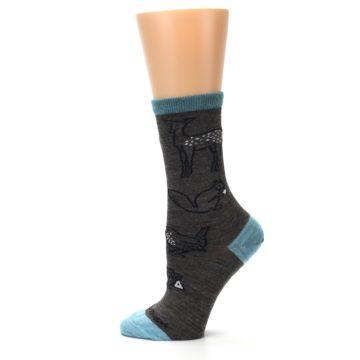 Image of Taupe Blue Women's Owl Dress Socks (side-2-12)