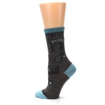 Image of Taupe Blue Women's Owl Dress Socks (side-2-13)