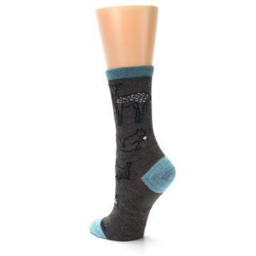 Image of Taupe Blue Women's Owl Dress Socks (side-2-back-15)