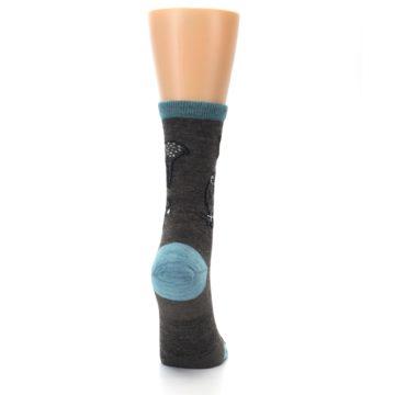 Image of Taupe Blue Women's Owl Dress Socks (side-1-back-20)