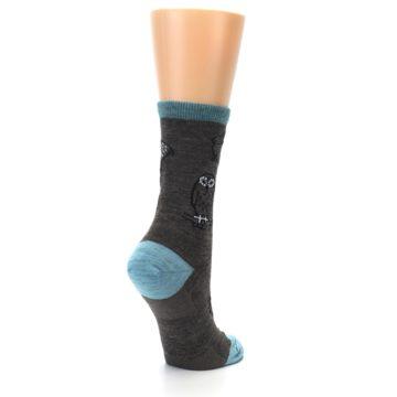 Image of Taupe Blue Women's Owl Dress Socks (side-1-back-22)