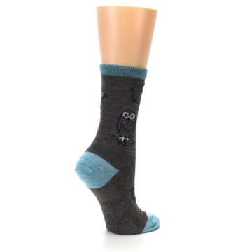 Image of Taupe Blue Women's Owl Dress Socks (side-1-23)