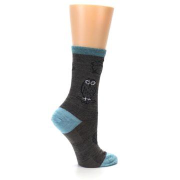 Image of Taupe Blue Women's Owl Dress Socks (side-1-24)