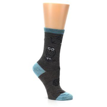 Image of Taupe Blue Women's Owl Dress Socks (side-1-26)