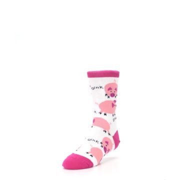 Image of White Bunch of Pigs Oink Kid's Dress Socks (side-2-front-07)