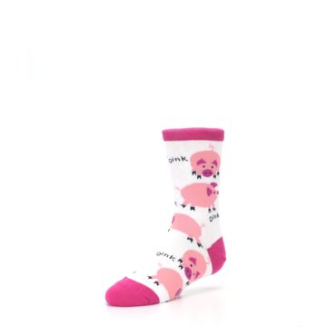 Image of White Bunch of Pigs Oink Kid's Dress Socks (side-2-front-08)