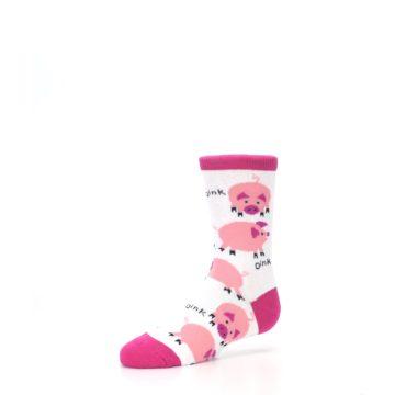 Image of White Bunch of Pigs Oink Kid's Dress Socks (side-2-09)