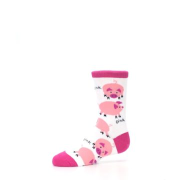 Image of White Bunch of Pigs Oink Kid's Dress Socks (side-2-10)