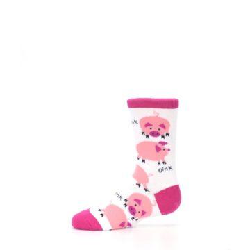 Image of White Bunch of Pigs Oink Kid's Dress Socks (side-2-11)