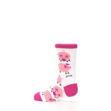 Image of White Bunch of Pigs Oink Kid's Dress Socks (side-2-13)