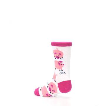 Image of White Bunch of Pigs Oink Kid's Dress Socks (side-2-back-14)