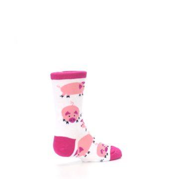 Image of White Bunch of Pigs Oink Kid's Dress Socks (side-1-back-22)