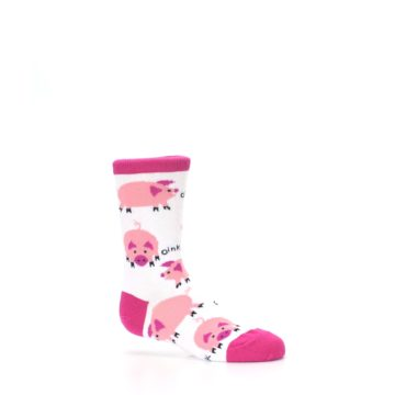 Image of White Bunch of Pigs Oink Kid's Dress Socks (side-1-25)