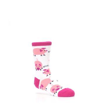 Image of White Bunch of Pigs Oink Kid's Dress Socks (side-1-26)