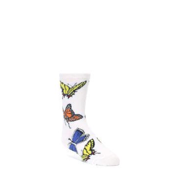 Image of White Multi Butterflies Kid's Dress Socks (side-1-front-01)