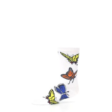 Image of White Multi Butterflies Kid's Dress Socks (side-2-10)