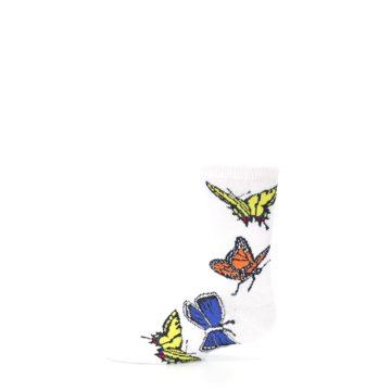 Image of White Multi Butterflies Kid's Dress Socks (side-2-11)