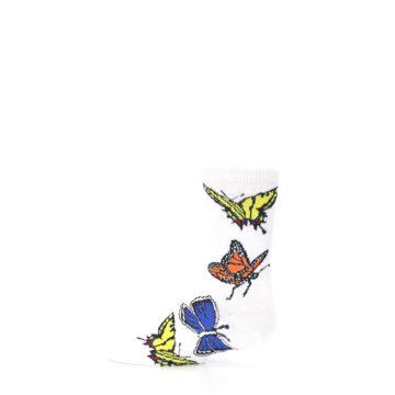 Image of White Multi Butterflies Kid's Dress Socks (side-2-12)