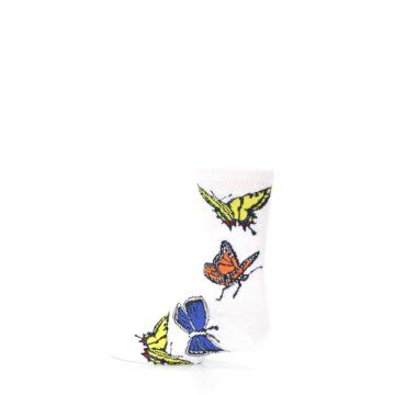 Image of White Multi Butterflies Kid's Dress Socks (side-2-13)