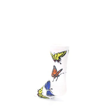 Image of White Multi Butterflies Kid's Dress Socks (side-2-back-15)