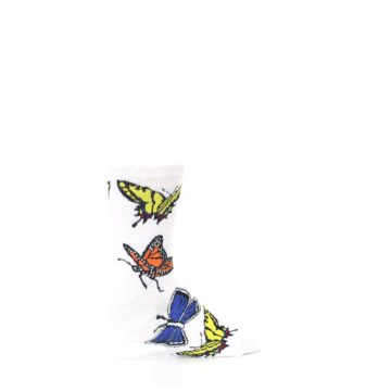 Image of White Multi Butterflies Kid's Dress Socks (side-1-23)