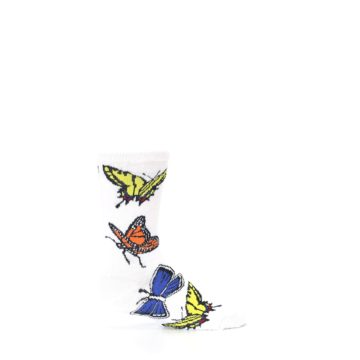 Image of White Multi Butterflies Kid's Dress Socks (side-1-24)