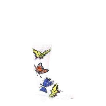 Image of White Multi Butterflies Kid's Dress Socks (side-1-26)
