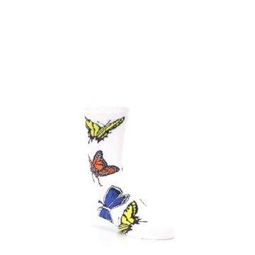 Image of White Multi Butterflies Kid's Dress Socks (side-1-27)