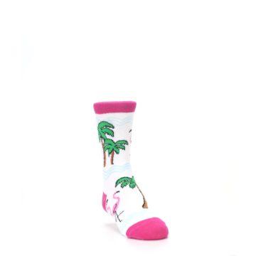 Image of White Pink Flamingos Kid's Dress Socks (side-1-front-02)