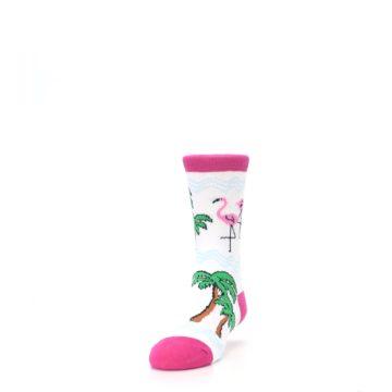Image of White Pink Flamingos Kid's Dress Socks (side-2-front-06)