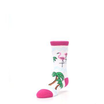 Image of White Pink Flamingos Kid's Dress Socks (side-2-front-07)