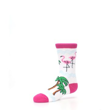Image of White Pink Flamingos Kid's Dress Socks (side-2-09)