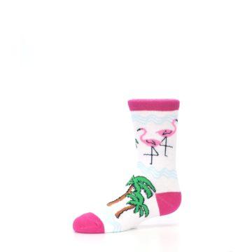 Image of White Pink Flamingos Kid's Dress Socks (side-2-10)