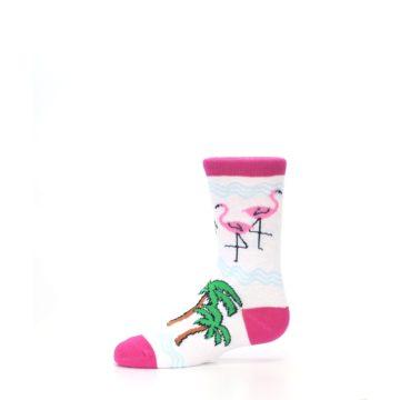 Image of White Pink Flamingos Kid's Dress Socks (side-2-11)