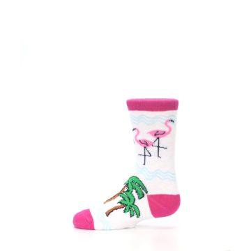 Image of White Pink Flamingos Kid's Dress Socks (side-2-12)