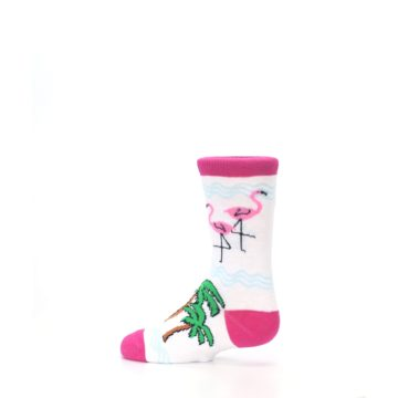 Image of White Pink Flamingos Kid's Dress Socks (side-2-13)
