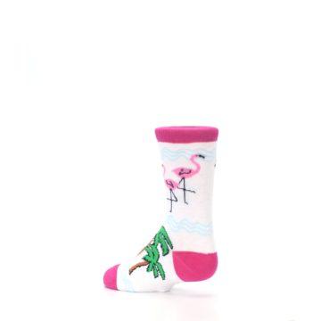 Image of White Pink Flamingos Kid's Dress Socks (side-2-back-14)