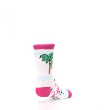 Image of White Pink Flamingos Kid's Dress Socks (side-1-back-21)