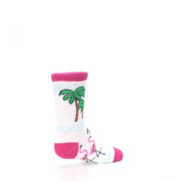 Image of White Pink Flamingos Kid's Dress Socks (side-1-back-22)