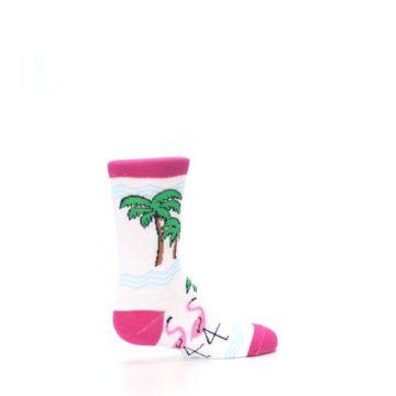 Image of White Pink Flamingos Kid's Dress Socks (side-1-23)
