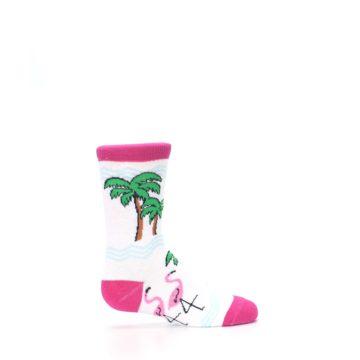 Image of White Pink Flamingos Kid's Dress Socks (side-1-24)