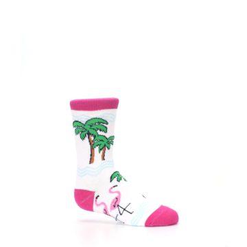 Image of White Pink Flamingos Kid's Dress Socks (side-1-25)