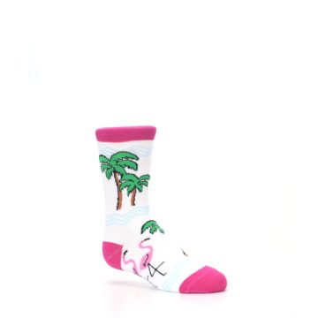 Image of White Pink Flamingos Kid's Dress Socks (side-1-26)