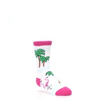 Image of White Pink Flamingos Kid's Dress Socks (side-1-27)