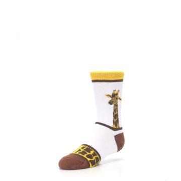 Image of White Brown Giraffe Stripes Kid's Dress Socks (side-2-front-08)