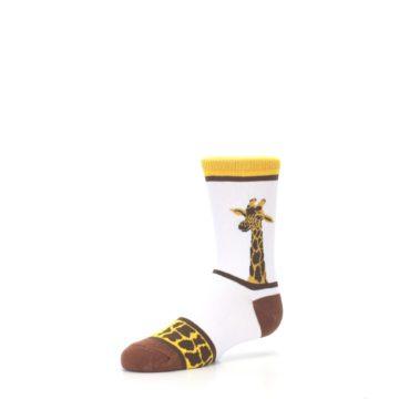 Image of White Brown Giraffe Stripes Kid's Dress Socks (side-2-09)