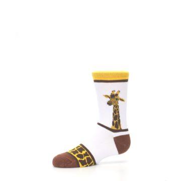 Image of White Brown Giraffe Stripes Kid's Dress Socks (side-2-10)