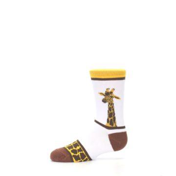 Image of White Brown Giraffe Stripes Kid's Dress Socks (side-2-11)