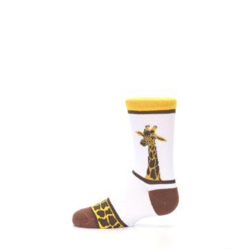 Image of White Brown Giraffe Stripes Kid's Dress Socks (side-2-12)